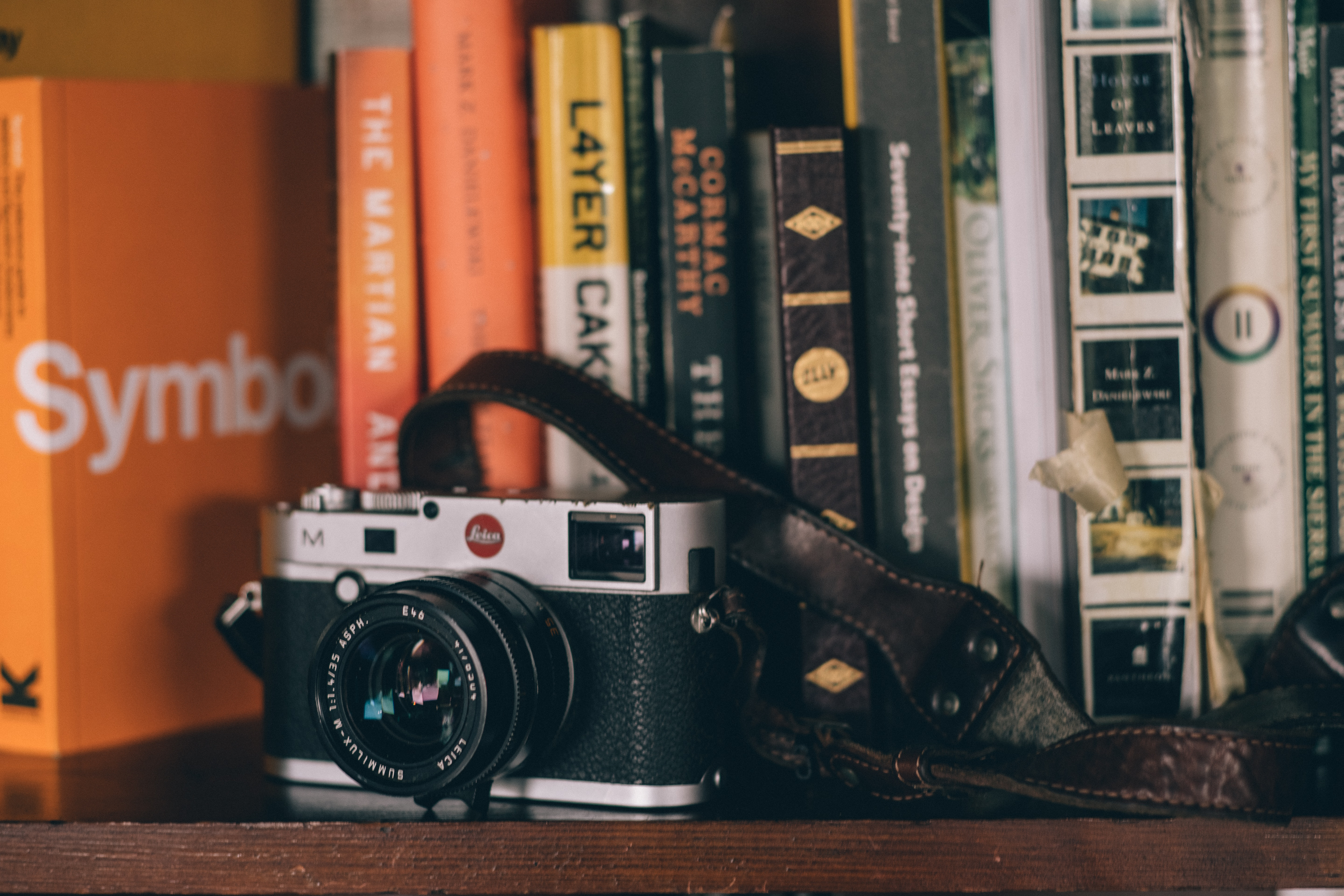 Leica M on bookshelf